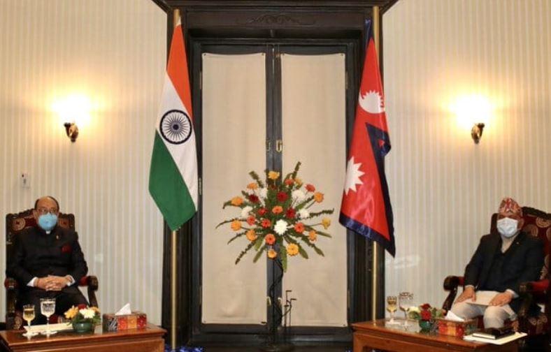 भारतीय विदेश सचिव श्रींगलाले गरे प्रधानमन्त्री ओलीसँग भेट